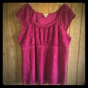 Fashion Bug Wine Red Lace Top 22/24W